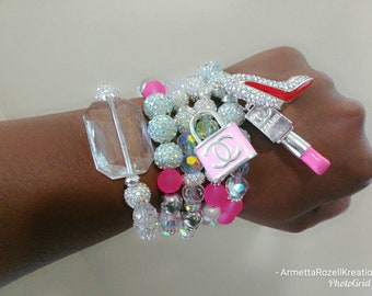Designer Inspired Ladies Chunky Rhinestone Irredescent ABS Red Bottomc& Pink Lipstick Charm Stack of 5