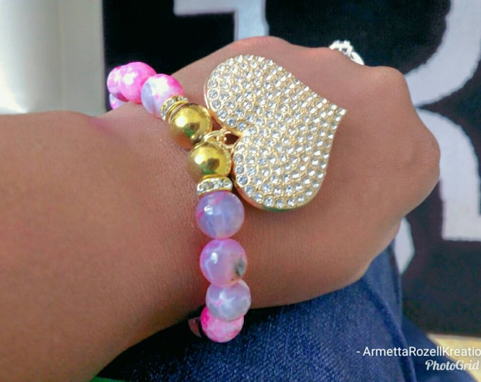 Pink Agate Gemstone & Gold Hematite Ladies CZ Heart beaded bracelet