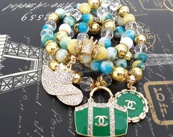 Designer Inspired Green mix beaded bracelet stack of 4.