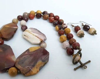Mookaite Jasper Ladies Gemstone Statement Necklace & Earring set, gifts for her, statement necklace