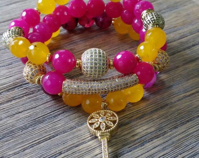 Berry Pink Faceted Gemstone & Yellow Agate zircon paved Beaded bracelet Trio Stack.