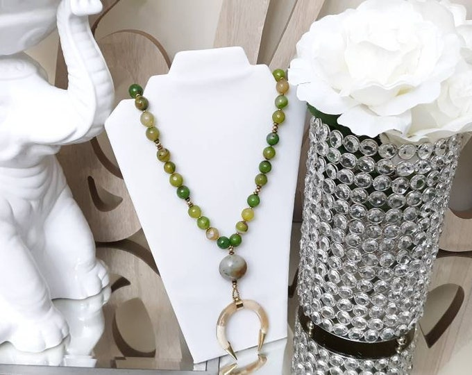 Long Green Agate Beaded Crescent Double Horn Bohemian Necklace with Matching Beaded Bracelet