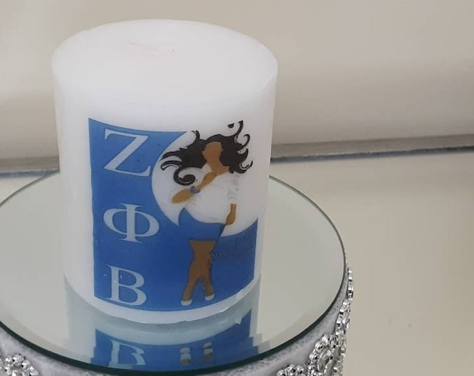 """Zeta Phi Beta Sorority Candle """"Lady with hair blowing"""" wax candle"""