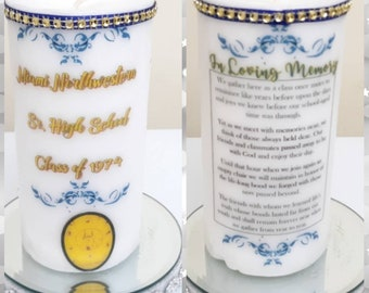 Class Reunion Remeberance Candle, In Memory Of Classmate's Candle Wax Candle