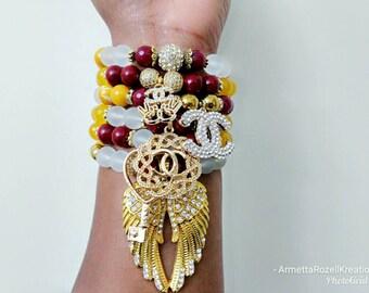 Designer Inspired Ladies Burgundy Faceted Jade & Yellow Faceted Jade Charm Beaded Bracelet Stack. Angel Wing Charm Bracelet.