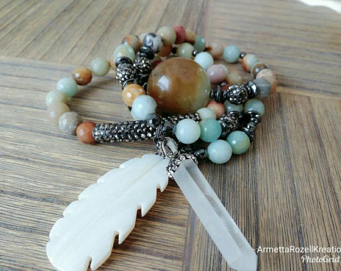 Amazonite Gemstone Beaded Bracelets with Leaf & quartzite Charm Bracelet Stack. Healing Bracelets. Gemstone Bracelet.