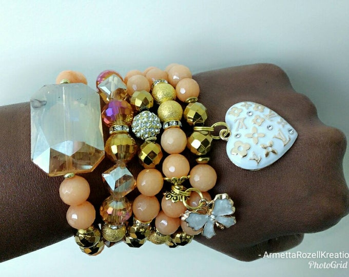 Designer Inspired Ladies 5 piece Crystal Focal Beaded Stack with Peach Faceted Agate Beads and Gold Faceted Beads
