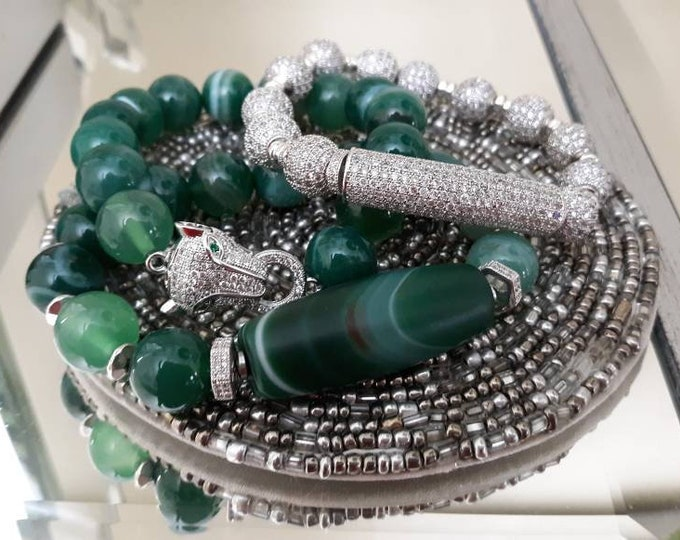 Gemstone Chunky Green Agate With Silver Leopard Connector Focal Head with CZ Paved Beads.