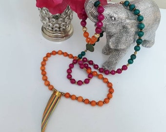Long Faceted Rainbow Genuine Tusk stone necklace and bracelet set. Boho chic, bohemian necklace, bone necklace.