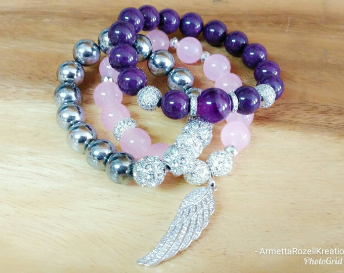 Purple and Pink Gemstone Ladies Chunky Jade Beaded Bracelet, Silver Hematite Crystal Beaded Trio Bracelet Stack with Zircon Wing Charm