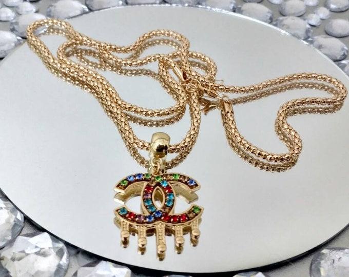 Designer Inspired Rainbow Rhinestone Charm Gold necklace.