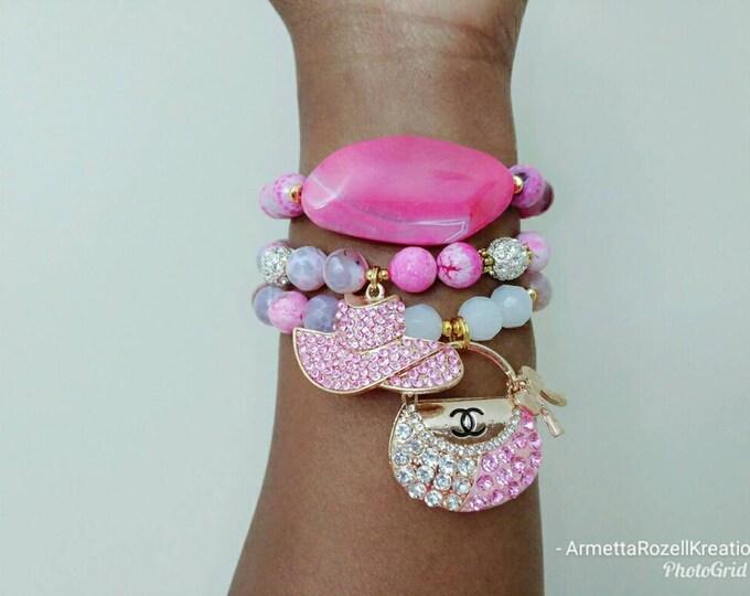 Gemstone Pink Agate Rhinestone Hat & Purse Bracelet Stack of 3, Stocking Stuffers