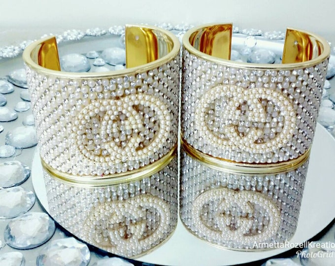 Designer Inspired Ladies Pearl & Gold cuff bangle.