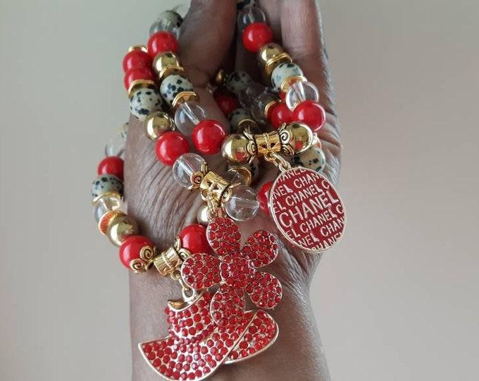 Designer Inspired Ladies Leopard, Red & Gold Beaded Bracelet Stack