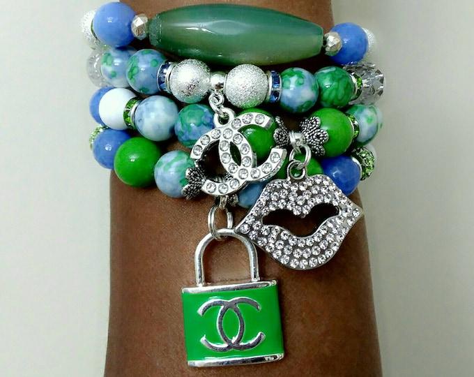 Designer Inspired Blue Agate & Green Mixed Jade Beaded Ladies Charm Bracelet Stack Set of 4