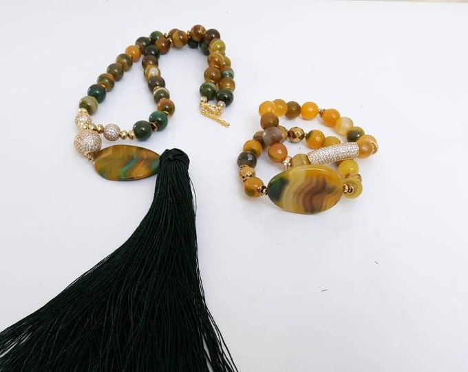 Green & Yellow Ladies silk long Tassel Gemstone statement necklace agate necklace set, Gifts for her.
