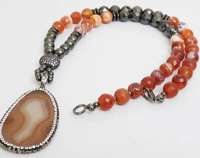 Fire Agate Orange Gemstone & Black Hematite Beaded Lobster Claw Pendant Necklace