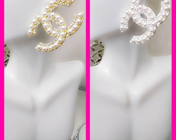 Ladies Pearl Oversized/Heavy Infinity Style Wedding, Graduation, Club Stud Earrings in silver or gold