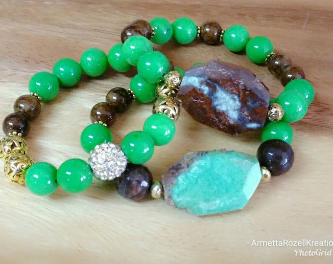 Green and Dark Brown Gemstone Chunky Ladies Bracelet Trio Stack. Healing Gemstone bracelet. Beaded bracelet Stack.