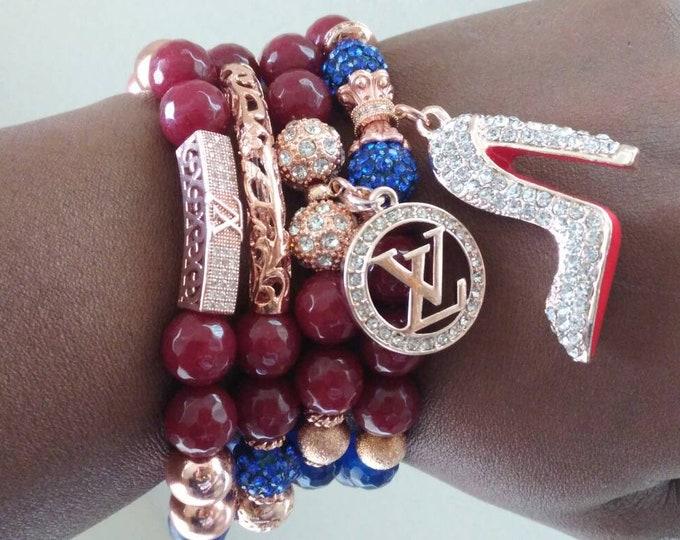 Designer Inspired Blue Jasper, Agate Stone & Gold Hematite Ladies CZ rhinestone Charm Bracelet Stack, stackable Bracelets, charm Bracelet's
