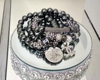 Designer Inspired Ladies Black Hematite Charm Bracelet Stack of 4 Beaded bracelet's