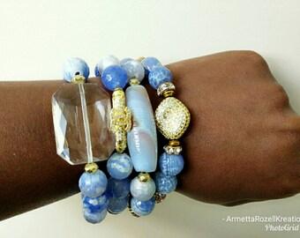 Blue Agate Gemstone Beaded Ladies Bracelet Stack Stackable stretch Bracelet. Designer Inspired Beaded bracelet, chunky Bracelet Stack