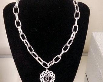 Designer Inspired Ladies Silver Charm Necklace, wedding jewelry