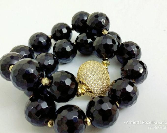 Black onyx Chunky Gemstone & Gold Paved Ladies Bracelet Stack of 2.