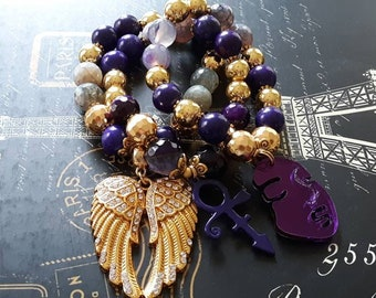 """Designer Inspired Chunky Gemstone Purple & Gold Hematite """"The Artist"""" Beaded Bracelet Trio Stack"""