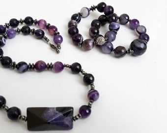 Purple Agate & Gold Ladies statement necklace, Necklace set, Beaded Bracelet Stack of 2, gifts for her, valentines gifts