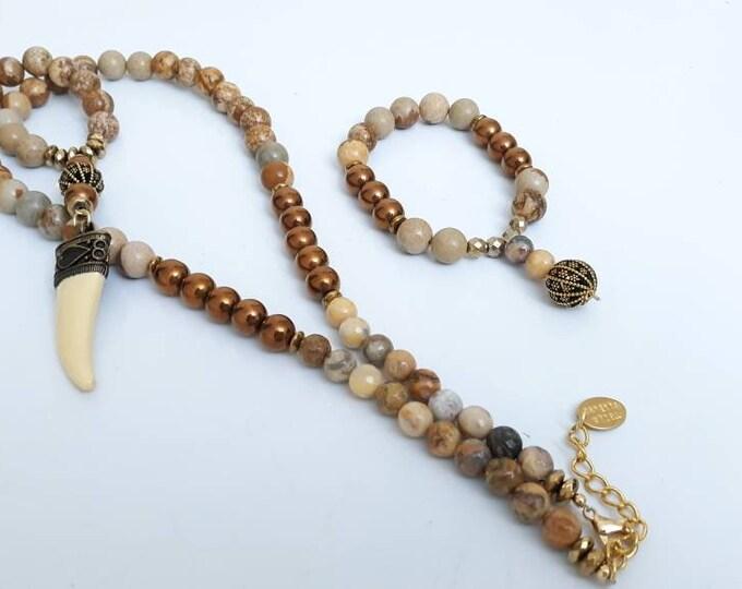 Gemstone Long unisex Jasper & Bronze hematite bone horn pendant long beaded necklace and bracelet set, Unisex jewelry necklace.