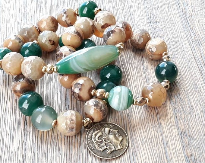 Chunky Brown Mix & green agate gemstone beaded bracelet stack of 3, Alexander The Great charm bracelet
