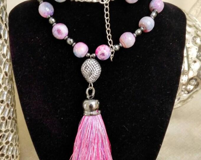 Ladies Lavender Purple & Pale Pink Gemstone Beaded Tassel Necklace with Hematite spacer beads.