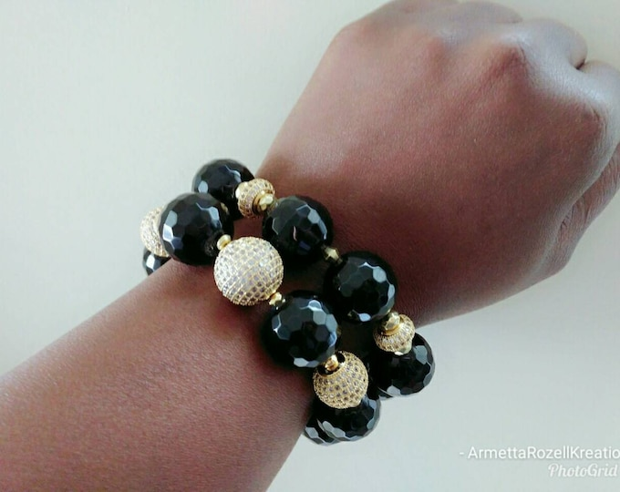 Black onyx Chunky Gemstone & Gold Paved Ladies Bracelet Stack of 2.