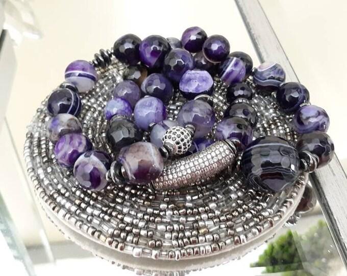 Ladies Purple Chunky Gemstone And Black Hematite Beaded Bracelet Set