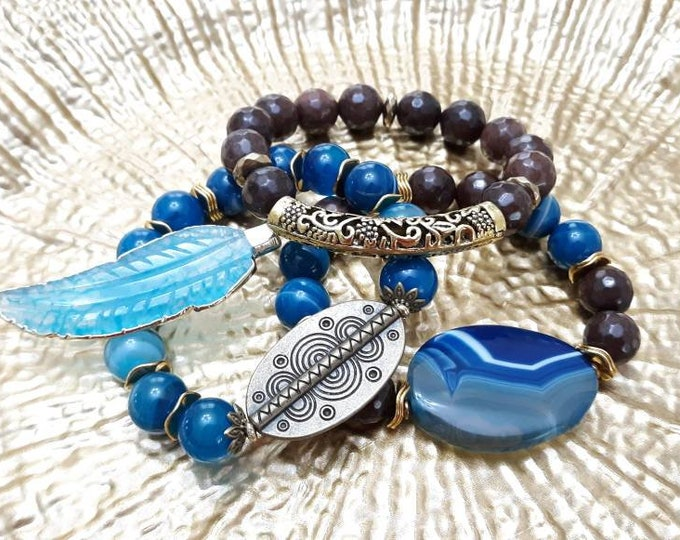 Ladies Chunky Gemstone Brown and Blue beaded bracelet stack