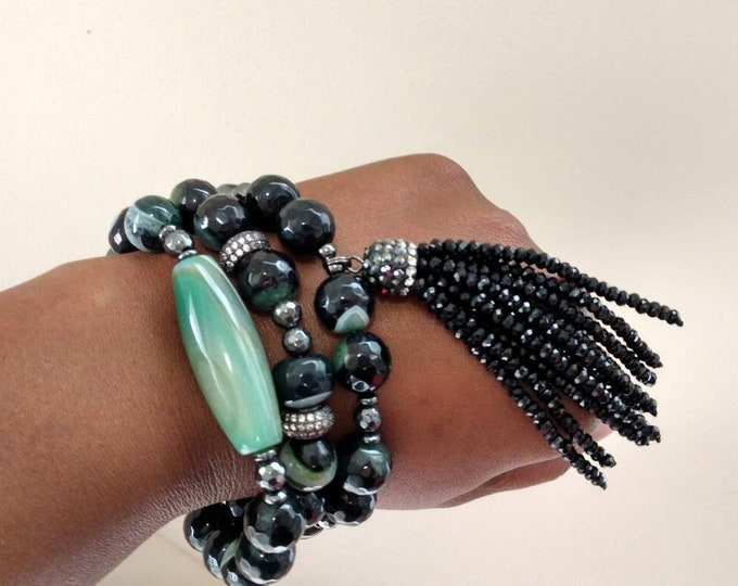 Black & Green Ladies Chunky Faceted Agate Bracelet Trio Stack with Matching Earrings.