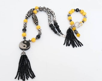 Black and White Ladies Tibetan Tassel Beaded gemstone statement Necklace & Bracelet set with Yellow Jade beads, Valentine gifts