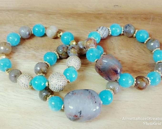 Teal & Brown Agate Gemstone Ladies Beaded Bracelets w/Paved Zircon beads Trio Bracelet Stack. Healing Gemstone Bracelets.