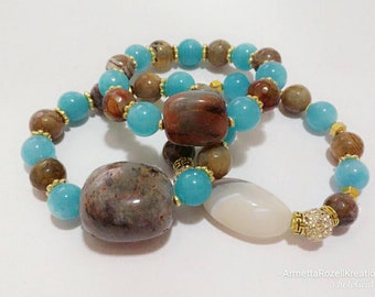 Gemstone's Chunky Teal & Brown Agate Stone Beaded w/Alloy beads Trio Bracelet Stack