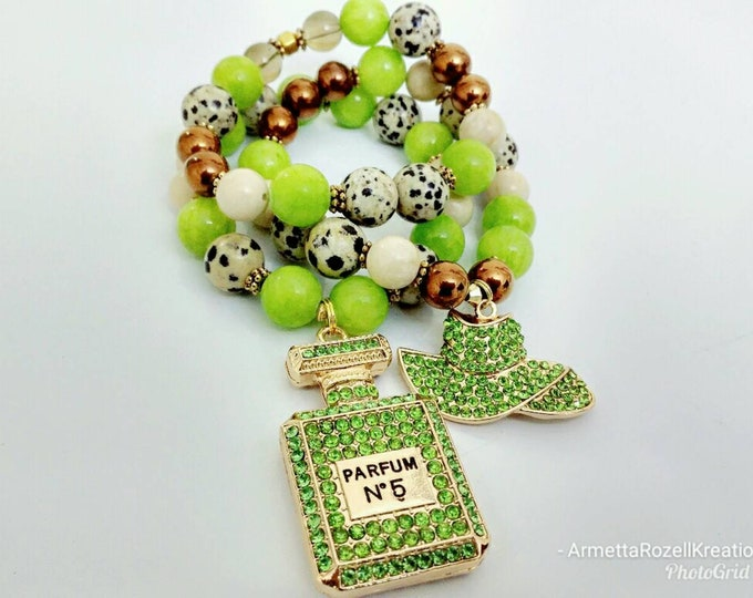 Designer Inspired Ladies Jasper Dalmatian Beads with Chunky Green Jade Beads, bronze hematite beads and Crystal Perfume and hat charms.