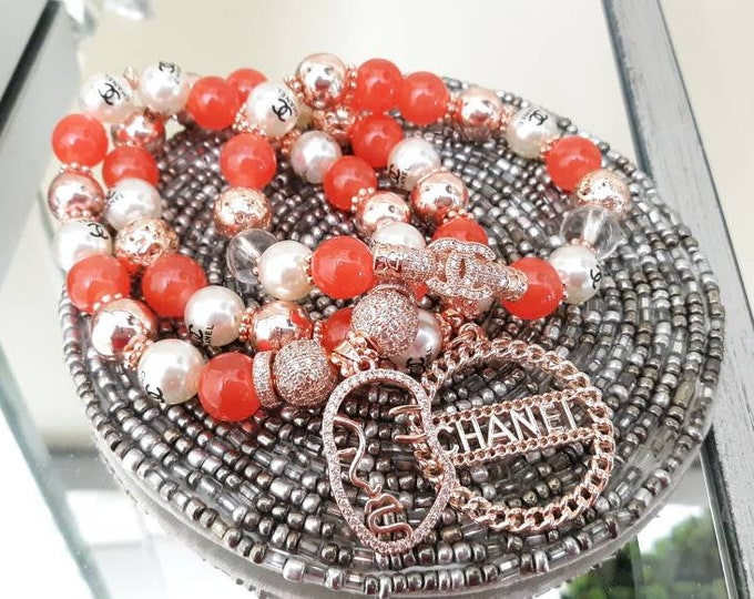 Designer Inspired Ladies Rosegold & Orange Beaded Bracelet Stack.