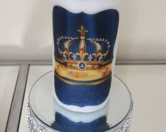 Royal Prince Blue  Crown Baby Shower candle, birthday candle