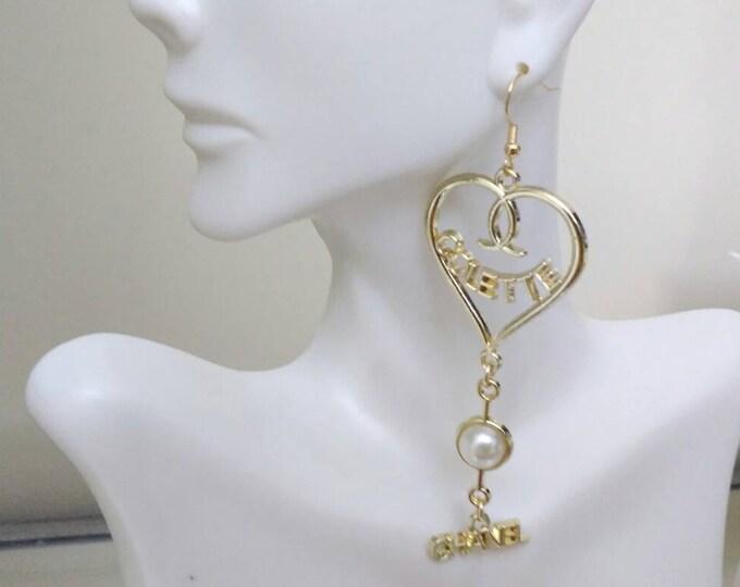 Designer Inspired Ladies Gold Plated Dangle Drop wedding earrings, anniversary earrings, birthday Earrings, gold pierced chandelier earrings