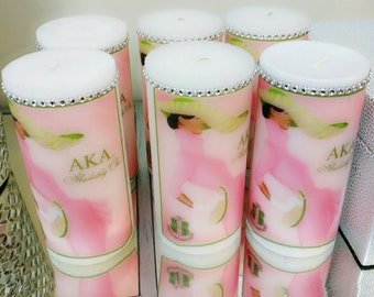 AKA Soroity Candle, Alpha Kappa Alpha Sorority candles, was candles, communion candles, memorial candles, pink, custom Candles, logo candles