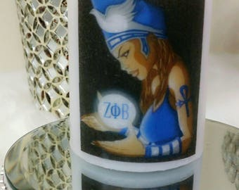 Zeta Phi Beta Sorority Candle, personalized candles, logo candles, anniversary gifts, birthday gifts, wax candles, custom candles, candles