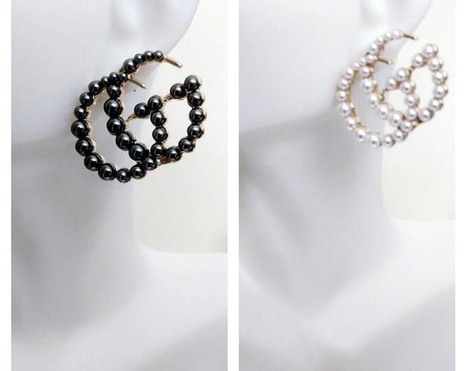 Designer Inspired Ladies Simulated Pearl Gold Wedding Jewelry Stud earrings, Pearl white or gray earrings, birthday gifts, Pearl earrings