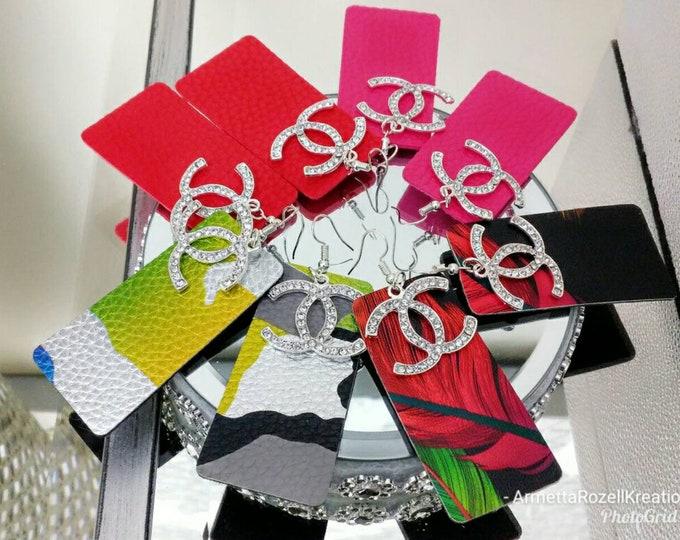Designer Inspired Ladies Rectangle Leather Dangle Earrings, rectangle earrings, rainbow earrings