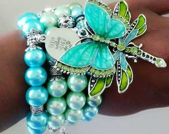 Pearl Ladies Beaded green, teal butterfly & dragonfly chunky bracelet Stack, birthday gifts, anniversary gifts, Christian Bracelet
