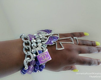 Designer Inspired Ladies Purple Butterfly & Silver cross Charm Bracelet Stack, lock Bracelet Stack, stackable Bracelet's, anniversary gifts